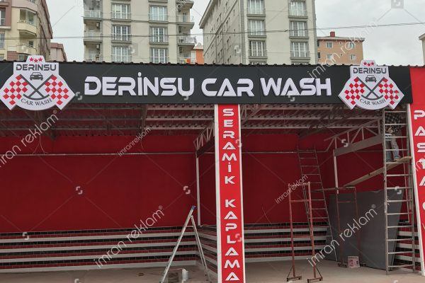 Derinsu Car Wash Pleksi Kutu Harfli Tabela