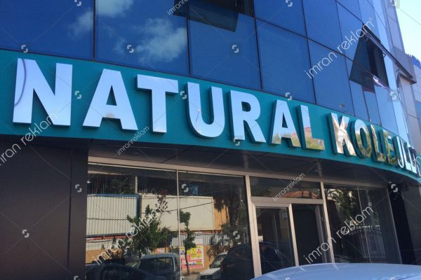 Natural Koleji Paslanmaz Krom Kutu Harf Tabela